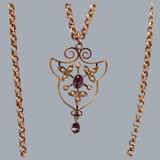 A Victorian Amethyst and Seed Pearl 9ct Pendant. Circa 1895.