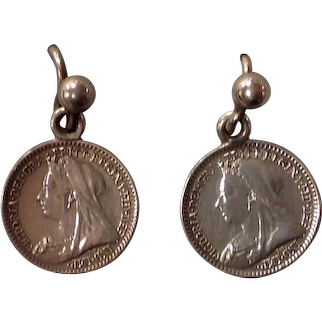 A Pair of Victorian Maundy Penny Earrings. Circa 1897