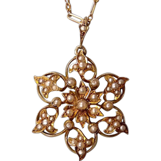 A Victorian 9 ct Gold and Seed Pearl Pendant. Circa 1890