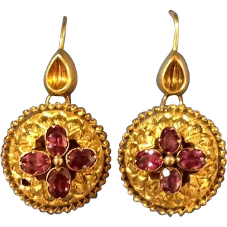 A Pair of Victorian 15 ct Gold and Garnet Earrings. Circa 1855