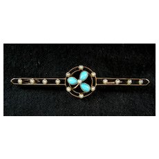 A Victorian 15ct Gold Seed Pearl & Turquoise Bar Brooch. Circa 1900.