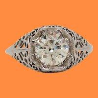 1920 Art Deco 18 Karat White Gold Filigree Diamond Engagement Ring