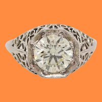 18 Karat White Gold 1920s Art Deco Filigree Diamond Engagement Ring