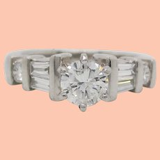 1960's Platinum and Baguette Diamond Engagement Ring