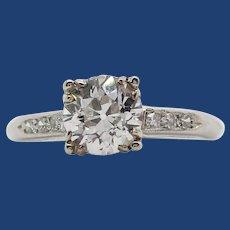 1950's Platinum and European Cut Diamond Ring