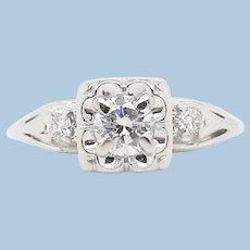 1960s Vintage 14K White Gold Diamond Engagement Ring