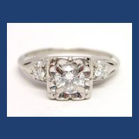 Vintage Diamond & 14K White Gold Engagement Ring 1/2 cttw