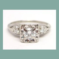 Vintage Diamond & 14K White Gold Engagement Ring 1/2 cttw