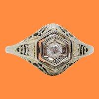 Art Deco 18 Karat White Gold Hexagonal Filigree Diamond Engagement Ring