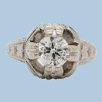Art Deco Hand Engraved 18K White Gold Diamond Engagement Ring