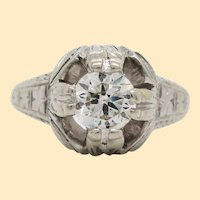 Art Deco Hand Engraved 18K White Gold Diamond Engagement Ring