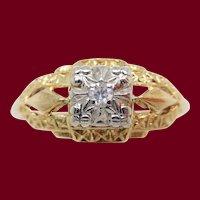 14k Two Tone Gold Estate Diamond Engagement Ring