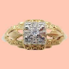 14k Two Tone Gold Estate Diamond Engagement Ring