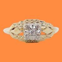 14 Karat Two Tone Gold Estate Diamond Engagement Ring