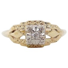 14 Karat Two Tone Gold Estate Diamond Engagement Ring