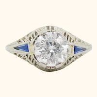 1925 Art Deco 18K White Gold Diamond and Sapphire Engagement Ring
