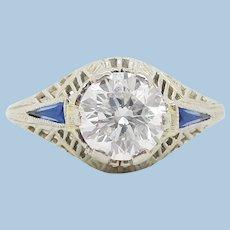 1925 Art Deco 18K White Gold Diamond and Sapphire Engagement Ring