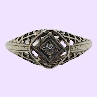 Diamond 18 Karat Gold Filigree Edwardian Engagement Ring