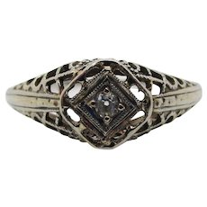 Diamond 18 Karat Gold Filigree Edwardian Engagement Ring