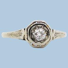 Art Deco 14K White Gold Filigree Diamond Engagement Ring