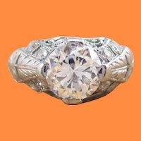 1925 Art Deco Platinum Filigree Diamond Engagement Ring