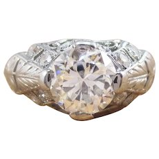 1925 Art Deco Platinum Filigree Diamond Engagement Ring