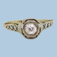 1920s 14K Yellow and White Gold Filigree Diamond Engagement Ring