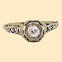 1920s 14K Yellow and White Gold Filigree Diamond Engagement Ring