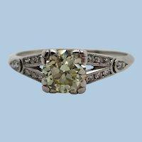 Original Platinum Deco Fancy Yellow Diamond Engagement Ring