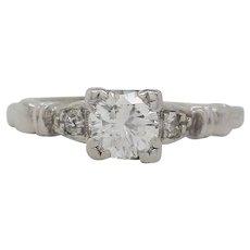 1950's Retro Diamond and Platinum Engagement Ring