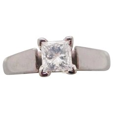 GIA Certified 0.31ct Princess Cut Diamond 14K White Gold Engagement Ring