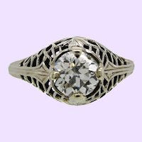 18K White Gold Filigree and Old European Diamond Engagement Ring