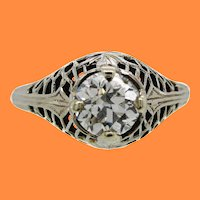 18K White Gold Filigree and Old European Diamond Engagement Ring