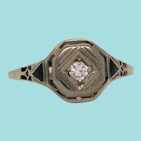 Art Deco 18 Karat White Gold Diamond and Sapphire Engagement Ring