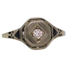 Art Deco 18 Karat White Gold Diamond and Sapphire Engagement Ring