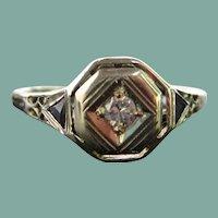 .05ct Diamond & 18K White Gold Art Deco Engagement Ring
