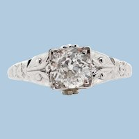 Original Art Deco 18K White Gold Diamond Engagement Ring