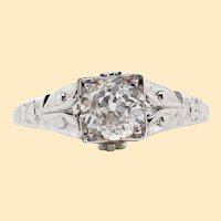 Original Art Deco 18K White Gold Diamond Engagement Ring