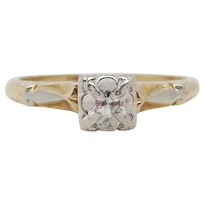 Midcentury Two-Tone 14 Karat Gold Single Cut Diamond Engagement Ring