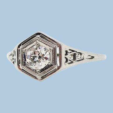 1920s 18K White Gold Filigree Old Mine Cut Diamond Ring