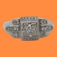 1925 Art Deco 18K White Gold Euro Cut Diamond Engagement Ring