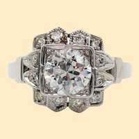 Original Art Deco Platinum Diamond Engagement Ring