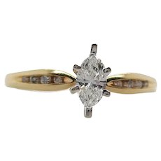 14K Yellow Gold Marquise Cut Diamond Engagement Ring
