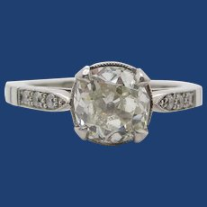 Art Deco Platinum Round Diamond Engagement Ring