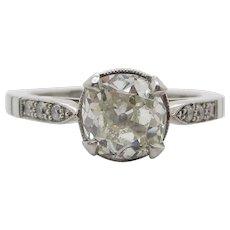 Art Deco Platinum Round Diamond Engagement Ring