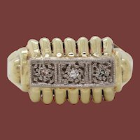1950 14 Karat Yellow Gold Three-Stone Diamond Midcentury Ring
