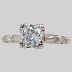 1940's Art Deco Platinum Euro Cut Diamond Engagement Ring
