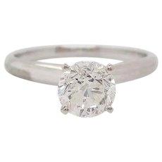 Round Diamond Solitaire 14 Karat White Gold Engagement Ring