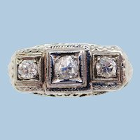 1920's 14K White Gold Filigree Three Stone Diamond Engagement Ring