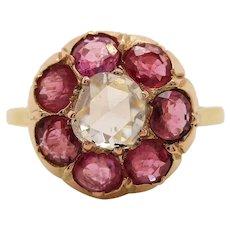 Original Victorian 18K Yellow Gold Ruby Diamond Flower Ring